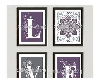 Home Decor Digital Love Purple Greys White Wall Art Vintage / Modern Inspired -Set of (4) - 8 x 10 Prints -  (UNFRAMED)