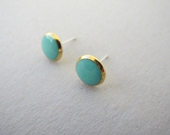 Turquoise post earrings.Gold 8mm round Stud Earrings turquoise color.stainless steel posts .Fully handmade.High Quality