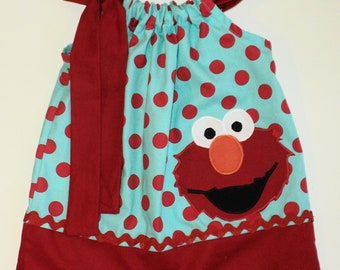 Custom Boutique Turquois Red Dot Elmo Pillow Case Dress size 0-6mo, 6-12m0, 12-18mo,  18-24m0. 2t, 3t, 4t, 5t