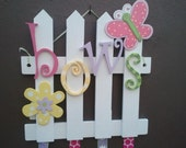 Butterfly Garden whimsical picket fence bow holder