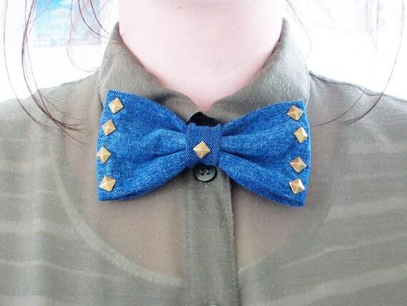 denim bronze studded bow tie grunge hipster edgy punk vintage