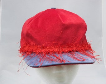 Red Hat Club - Red velvet Baseball cap w/ purple suede