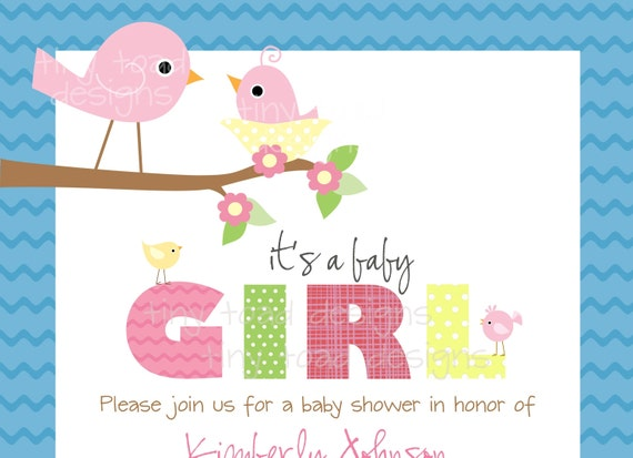 baby birds baby shower invitations baby girl by tinytoaddesigns, Baby shower invitations