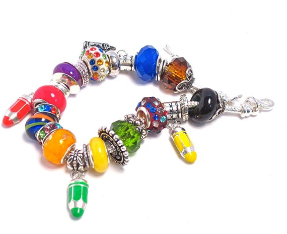 My First Crayon Box: Euro large hole bead charm bracelet, primary colors, red, yellow, blue, secondary colors, purple, orange, green