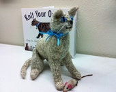 Hand Knitted Soft Sculpture Ugly Blue Eyed Sitting Cream Colored Cat