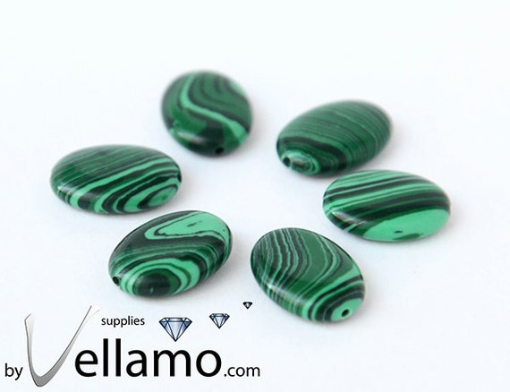 Oval shaped polished malachite beads, green, 6 pieces, 16mm x 12mm