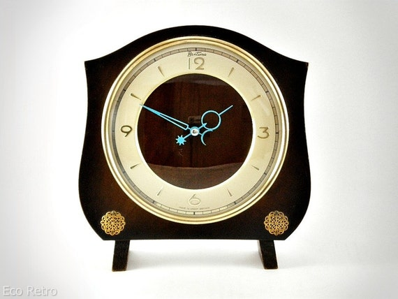 Fabulous Fifties Vintage Bentima Mantel Clock with Baby Blue Hands