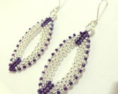 Handcrafted Beaded Earrings Made to Order in Purple and Silver, with S.S. Ear Wire