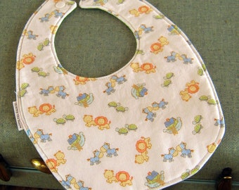 Baby Bib: Gender Neutral, Noah's Ark Fabric, Baby Shower Gift