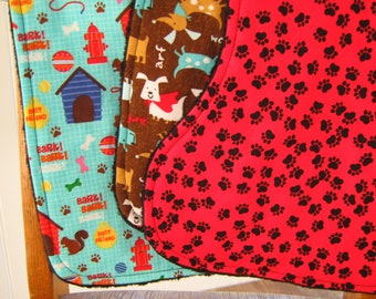 Dogs and Paws Contoured Burp Cloths, Set of Three Minky Baby Burpcloths, Puppies, Dachshunds, Newborn Gift