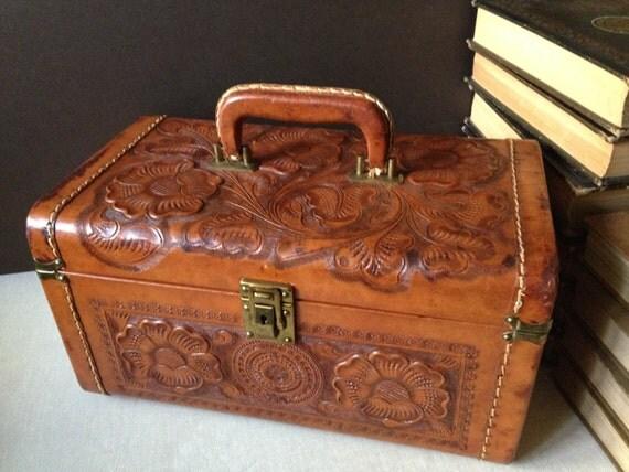 Vtg England Cheney Tooled Leather Train Case Suitcase