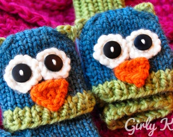Smitten Mittens Fingerless Animal Gloves KNITTING PATTERN Teal and Green Owl, Grey and Pink Cat, Bird Mits