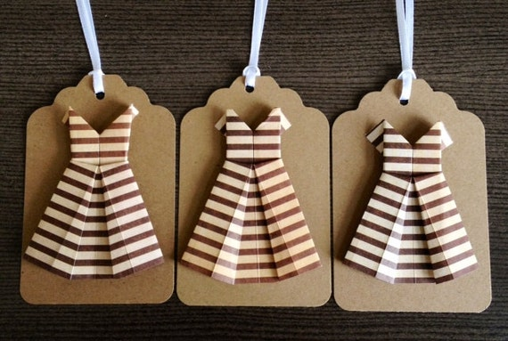 Origami Striped Dresses Gift Tags Set of Three
