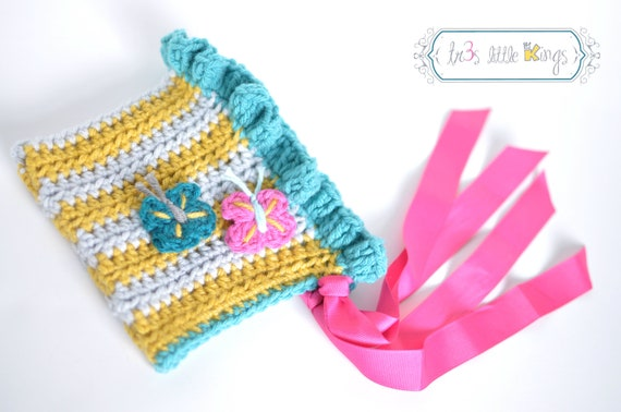 Baby Girl hat Pixie Bonnet Mustard Yellow and Gray stripes-blue teal hot pink butterflies