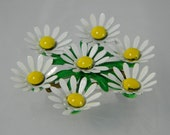 Vintage Daisy Brooch Enameled White Daisy Yellow Center Green Leaves