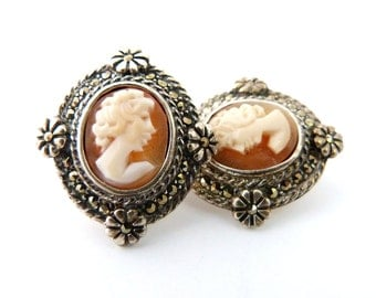 Sterling Silver Marcasite Cameo Earrings
