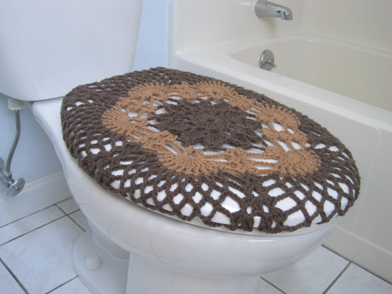 crochet toilet seat cover taupe heather warm brown tsc9a. Black Bedroom Furniture Sets. Home Design Ideas