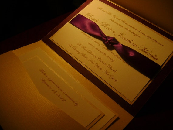 Custom Listing for Stacey - Purple and Champagne Pocketfold Wedding Invitation