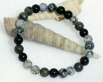 Black onyx, jasper, agate and snowflake obsidian stones Black to Grey beaded gemstone stretch, stacking, healing, unisex bracelet   B010