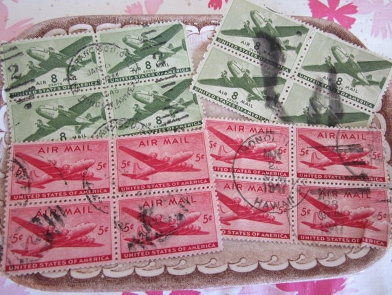 Vintage Air Mail Stamps from USA 1940s  WW2 Era