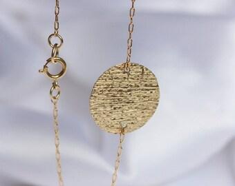 Dainty Disc Chain Bracelet  14k Gold Filled  Delicate Chain Stacking Bracelet  Bridesmaid Gift  Gift for Women  Layering Bracelet