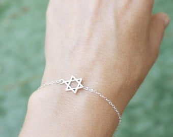 star of david bracelet - tiny jewish star - sterling silver sideways star of david . star of david jewelry, jewish jewelry , magen david .