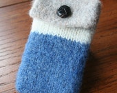 blue natural wool felted ipod/phone cozy case