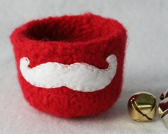 red wool felted christmas vessel with santa mustache