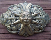 Vintage Hair Clip, Sun's Face Set Against Flowers, Gold Toned or Brass Design, Nice