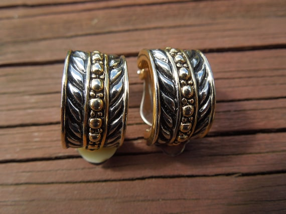 Vintage Clip Earrings, Gold Tone and Silver Tone, Semi Circle, Nice Design and Condition