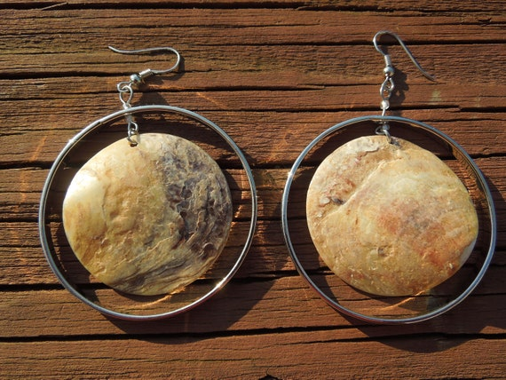 Vintage Hoop Earrings, Large Size Hoops with Central Shell.  Loop Design for Pierced Ears