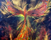 Original Painting Phoenix - Mythical Sacred Fire Bird  - Contemporary Modern Stretched Ready To Hang