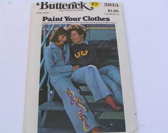 Vintage Butterick Pattern 3813 Paint Your Clothes Transfers