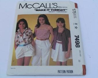 Vintage McCalls Pattern 7498 Girl Shirt Camisole