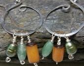 Triple Drop, Sterling Silver Hoop, Fall Colors