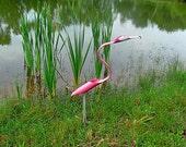 Pink Flamingo Lawn sculpture, PVC pipe lawn art, Garden art.