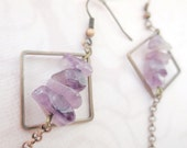 Dangle Copper Earrings Square Loops and Purple Quartz, Copper Chain, Metal Jewelry