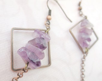 Dangle Copper Earrings Square Loops and Purple Quartz, Copper Chain, Metal Jewelry