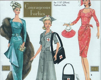 1940's Doll Clothes Pattern - Simplicity Doll Collectors Club - Courageous Forties - Designed by Theresa Laquey - Fashion Display Clothes