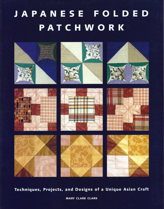 Japanese Fabric Book Cover : Book japanese folded patchwork fabric quilting