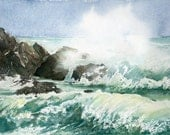 Watercolor seascape - Art print from original painting - Waves and rocks - SandraOvono
