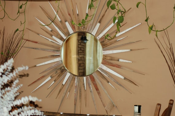 "67"" Reclaimed Barnwood Sunburst Mirror"