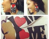 iheartMe post earrings in black, red and silver