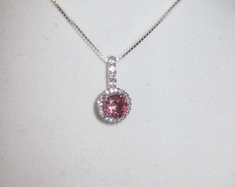 Sparkling Pink Tourmaline in Deco CZ Sterling Setting with Chain