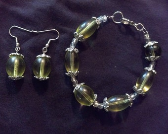 Green Leaves earring and bracelet set