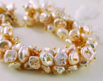 Freshwater Pearl Bridal Bracelet, Keishi Keshi Cluster, Peach, Gold Wedding Jewelry - Champagne Bubbles - Free Shipping