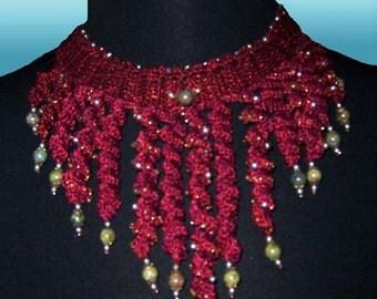 Bordeaux Spiral Crochet  Necklace/Choker
