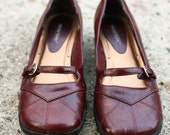 Women's burgundy brown leather maryjanes, loafers, oxfords size 7.5 8