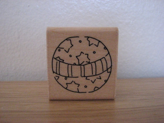 Bouncy Ball Rubber Stamp with Stars