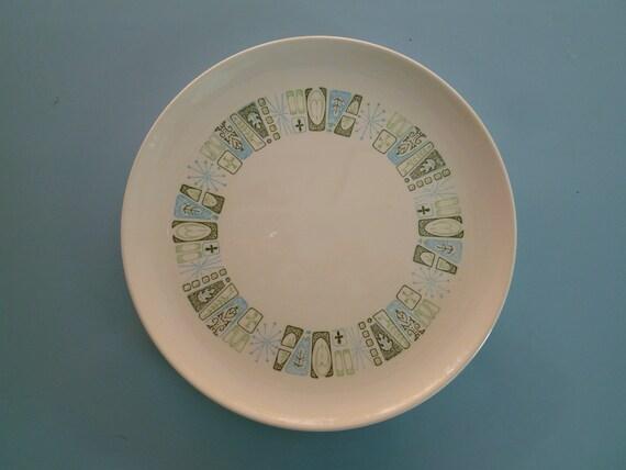 Vintage Midcentury Starburst Print Dinner Plate, blue, green, white, 50s, 60s, mid century modern, mcm